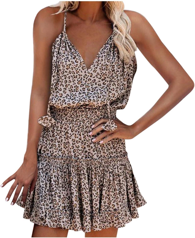 Women's Floral V Neck Spaghetti Strap Summer Dresses Beach Floral Sundress Sleeveless Casual Loose Tank Dress