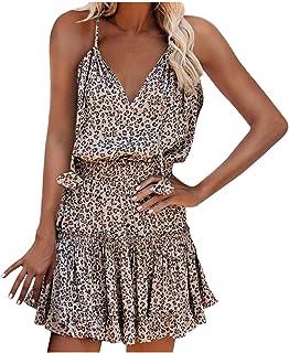 Sommerkleid Damen Kurz, V-Ausschnitt Sexy Kleider Boho Kleidung Damen Ärmelloses Kleid Blumendruck Vintage Kleid Strandkleid Damen Summer