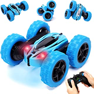 RACPNEL Remote Control Car, 2.4GHz RC Stunt Car 360 Degree Flips Double Sided Rotating Race Car with Headlights, 4WD High Speed Off Road RC Toy Car for Kids Boys and Girls, Blue