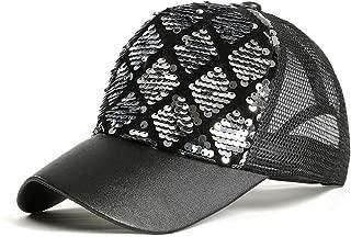 FALETO Unisex Diamond Sequin Cap Reversible Adjustable Mesh Baseball Cap Mermaid Sequins DIY Trucker Cap Sun Hat