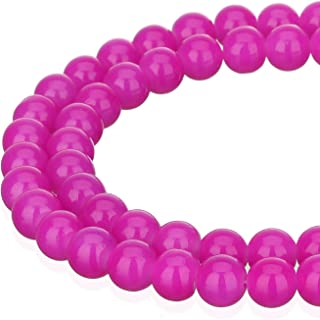 String of ~145 x 6mm Glass Pearl Beads Fuschia Bright Pink