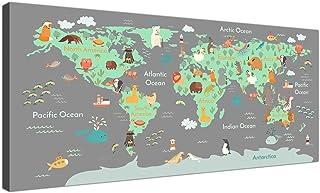 comprar comparacion Mapa del mundo animal sobre lienzo, arte para dormitorios infantiles, imágenes educativas para niños, para la sala de jueg...