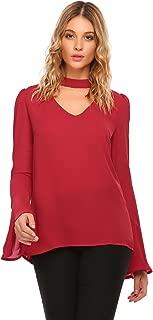 Womens Casual Chiffon Choker Cut Out V Neck Long Bell Sleeve Blouses Tops