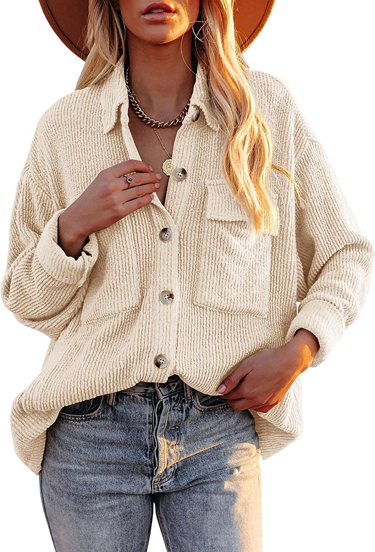 Huiyuzhi Womens Corduroy Button Down Sleeve Shirt Max 78% OFF Long Houston Mall Ja Casual
