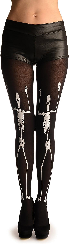 White Printed Large Dancing Skeletons On Black (Halloween) - Pantyhose (Tights)