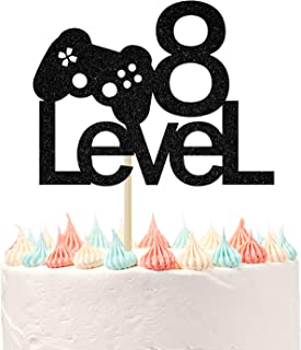 Level Up 8 Cake Topper for 8th Birthday Supplies, Happy 8th Birthday, Video Game Themed Gaming Party Decorations Black Gli...