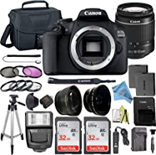 Canon EOS 2000D / Rebel T7 Digital DSLR Camera Body with 24.1MP CMOS Sensor with 18-55mm Lens + 2 Pcs SanDisk 32GB Memory Card + Camera Bag + Accessories Bundle (18-55mm+32GB)