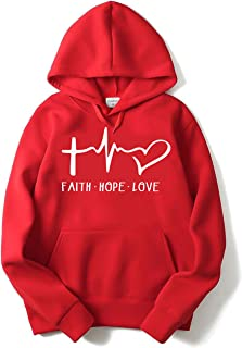 The SV Style Unisex RED Hoodie with White Print: Faith Hope Love/Printed Red Hoodie/Graphic Printed Hoodie/Hoodie for Men & Women/Warm Hoodie/Unisex Hoodie