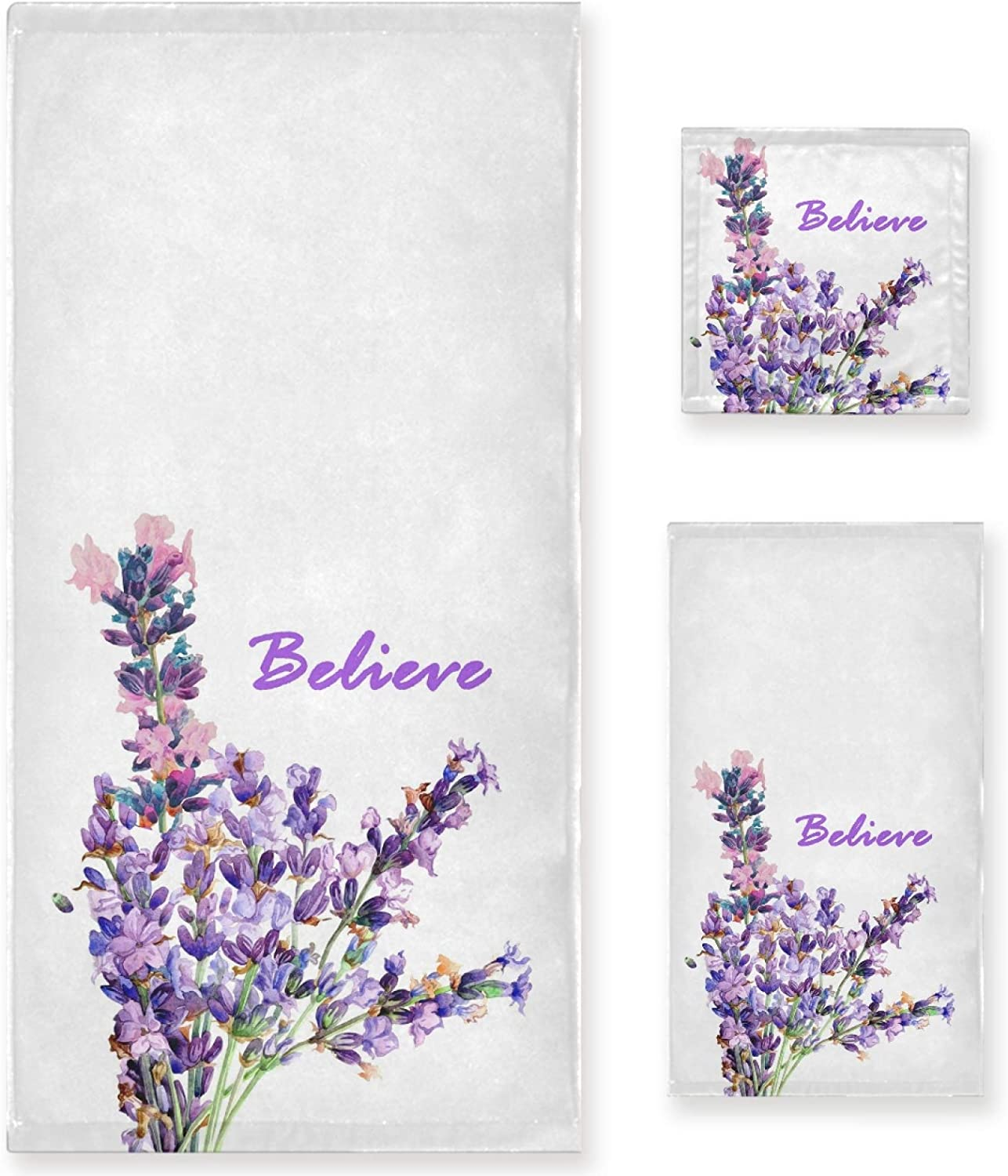 lowest price Naanle Believe Lavender Towel Spring new work one after another 3 Piece Bath Tow Set Flower Purple