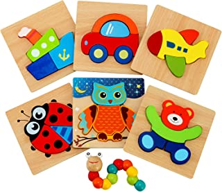 Wooden Jigsaw Puzzles for Toddlers - Jaolex Animal & Vehicle Jigsaw Puzzles for 1 2 3 Years Old Boys & Girls Educational Toys [ 6 Pack ]