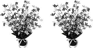 """Beistle 30"""" Gleam 'N Burst Centerpieces 2 Piece, 15"""", Black/Silver"""