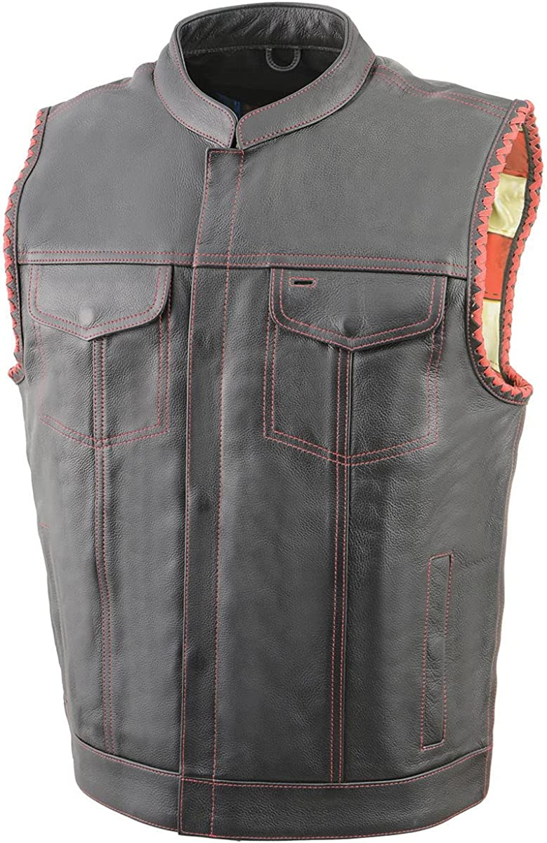 Milwaukee Leather MLM3506 Men's 'Old Glory' Black Leather with Red Stitching Vest and Laced Arm Holes