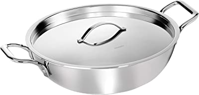 Amazon Brand - Solimo Triply Kadhai with Stainless Steel Lid, 28 cm