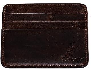 Hibate Vintage-Style Slim Leather Credit Card Holder Front Pocket Case for Men Women Bag Wallet - Deep Brown