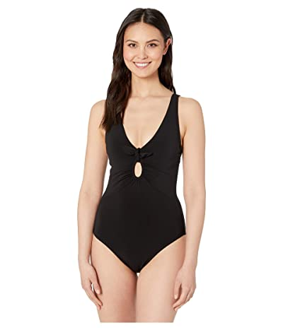 Robin Piccone Ava Plunge One-Piece with Front Knots (Black) Women