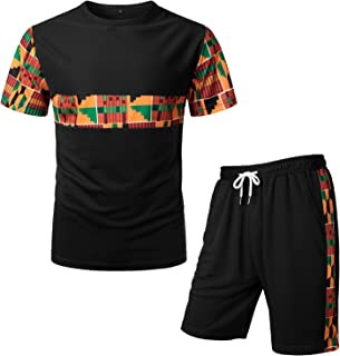 Men's African Pattern Printed T-Shirt and Shorts Set Sports Mesh Tracksuit Dashiki Outfits