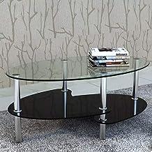 Glazen salontafel met 3 niveaus van gehard glas, met metalen frame, bijzettafel van zwart glas voor de woonkamer, 90 x 45 ...