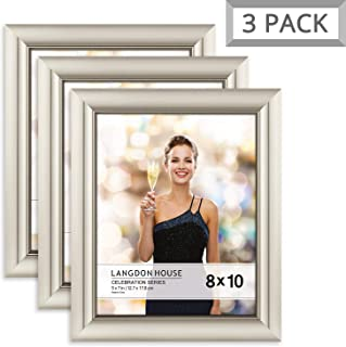 Langdon House 8x10 Picture Frame (3 Pack, Champagne), Photo Frame 8 x 10, Wall Mount or Table Top, Set of 3 Celebration Collection