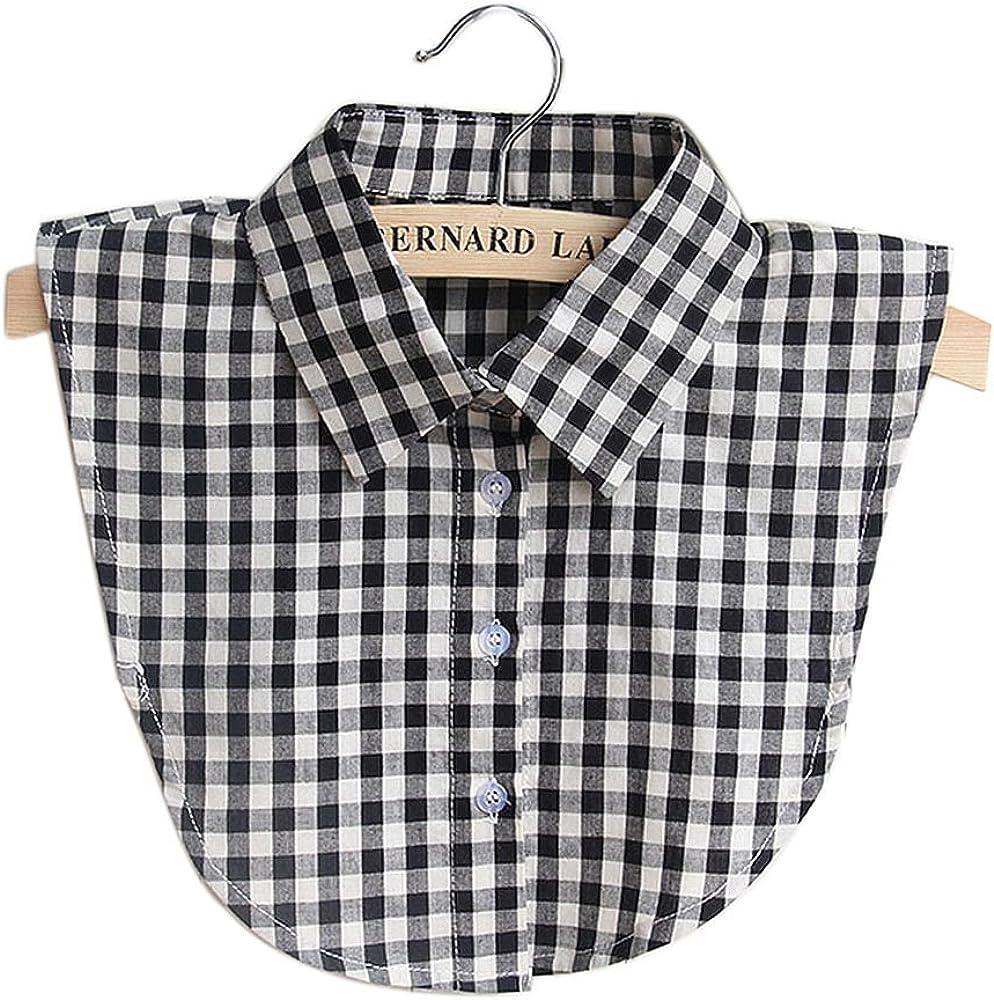 Vococal Collar de Camisa Falso, Collar Falso Algodón Casual Plaid para DIY Blusa Ropa de Vestir, para Mujeres Señoras (Negro)