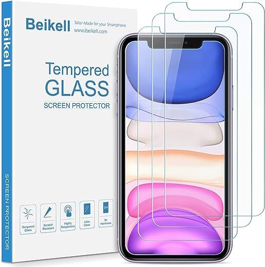 Beikell [4 Stück] Schutzfolie für iPhone 11, iPhone XR, Displayschutzfolie mit Installationsanleitung, 9H Härte und Hohe-Auflösung, Kratzfest,…