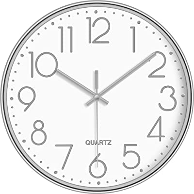 LAMIKO Wall Clocks Non-Ticking Silent 12 Inch Battery Operated Quartz Decro Clock Easy to Read for Bedroom/Home/Kitchen/Room/Office/School, Silver White