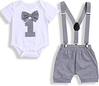 Baby Boy Funny First Birthday Clothes Infant Boy Bow Tie Romper Bodysuit Cake Smash Outfits