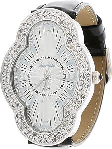 لويس كالفن ساعة يد نسائية انالوج بعقارب جلد , LC4415