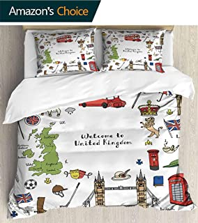 PRUNUSHOME Comfortable Polyester Sheets Set of 3 Doodle Unite kdom Set UK Icons Welcome to London Elements Bedding Set Full