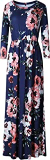 Women's Stretchy Floral Long Maxi Dresses with Pockets (S-XXXL)