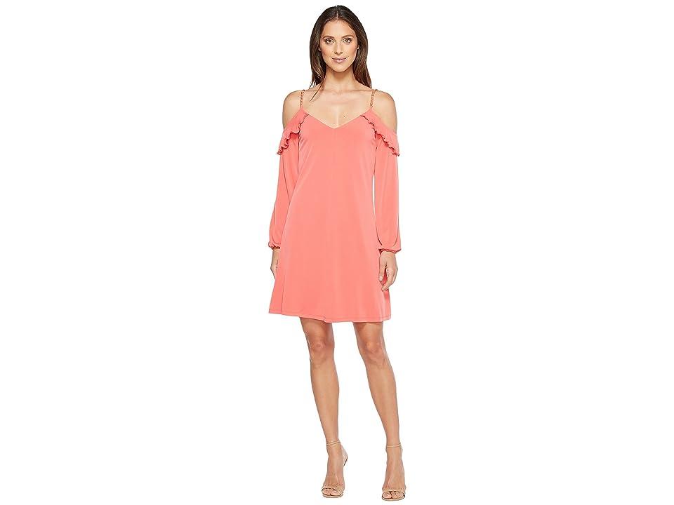 MICHAEL Michael Kors Cold Shoulder Chainstrap Dress (Sangria) Women