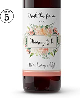 Drink This For Me - I'm a Mommy-To-Be ? SET of 5 ? Pregnancy Announcement Wine Labels, Pregnancy Reveal Wine label, Baby Surprise, Alternative to Pregnancy Announcement Cards WATERPROOF Peach A612-5M1