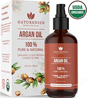 Naturenics Moroccan Argan Oil  100% Certified Pure USDA Organic Cold Pressed Carrier Oil - Moisturizing Solution for Face, Body, Hair, Skin & Nails   Roll On & eBook- 4 Fl Oz