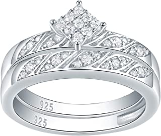 Wuziwen Square Cluster Wedding Rings for Women Engagement Ring Sets Cz Sterling Silver Size 5-10