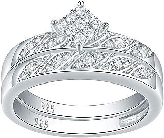 Wuziwen مربع العنقودية خواتم الزفاف للنساء خواتم الخطوبة تشيكوسلوفاكيا الاسترليني الفضة حجم 5-10