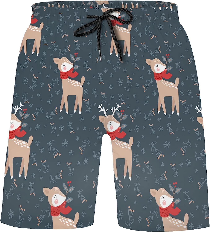 ZXZNC Funny online shop Christmas Deer and Flowers Trunk Swim supreme Dark Boys Blue