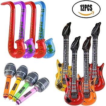 WOWOSS 19 pcs Inflables de Juguete Guitarra micrófono saxofón ...