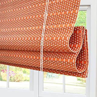Bamboo Roman Window Shades Blinds, Light Filtering UV Protection Shades with Valance, 20