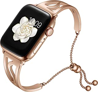 AMANECER Bling Bands Compatible Apple Watch Band 38mm 40mm Iwatch Series 4/3/2/1, Women Stainless Steel Metal Dress Jewelry Bracelet Bangle Wristband