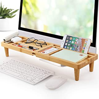 Bamboo Desk Organizer Tray for Saving Space, Office Desktop Small Objects Storage Holder Hide Keyboard Wood Shelf for Phone, Tablet, Glasses, Pen, and More Accessories