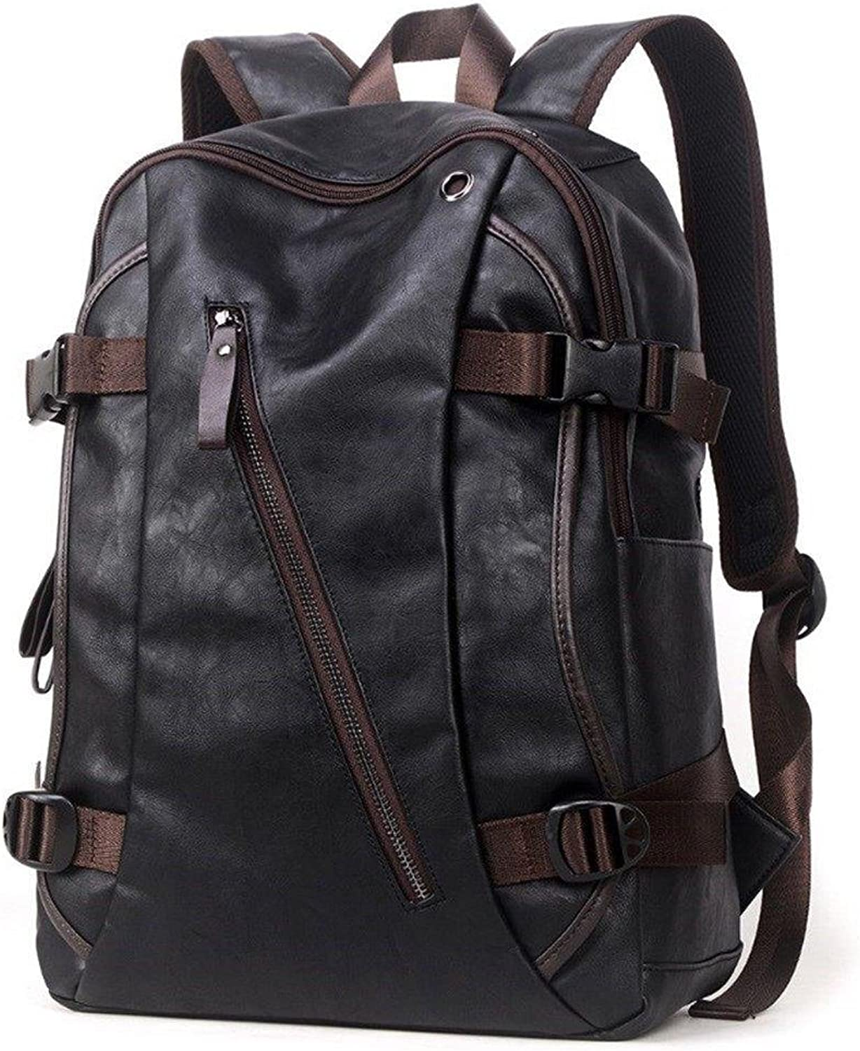 Black Unisex Stylish Backpack Bag of Artificial Leather for College, Office and School (15.5 INCH)
