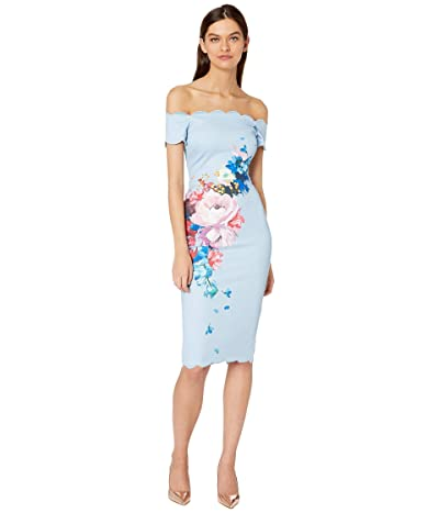 Ted Baker Hailly Raspberry Ripple Bardot Dress (Light Blue) Women