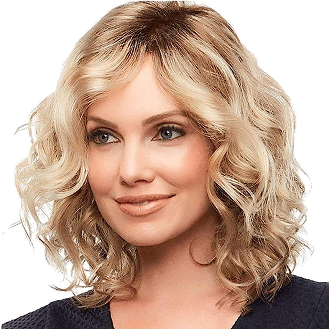 コンパイル安心自分の力ですべてをする女性用ウィッグブロンドミディアムレングスウェーブのかかった人工毛ウィッグ (色 : Blond)