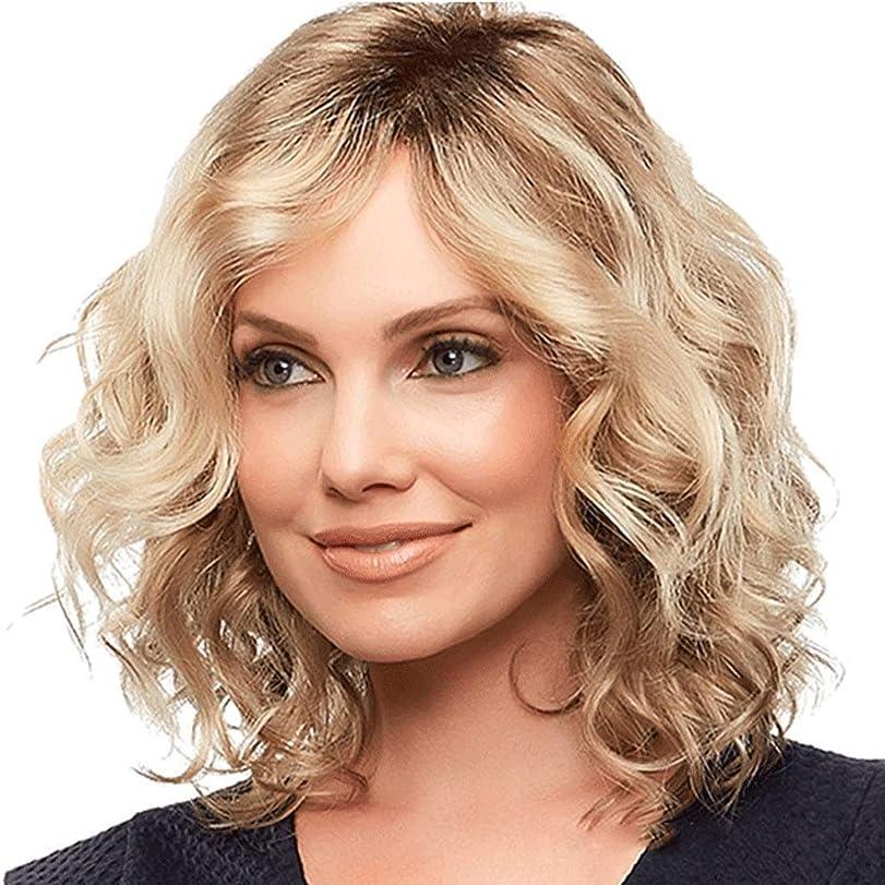 含める忙しいセッション女性用ウィッグブロンドミディアムレングスウェーブのかかった人工毛ウィッグ (色 : Blond)