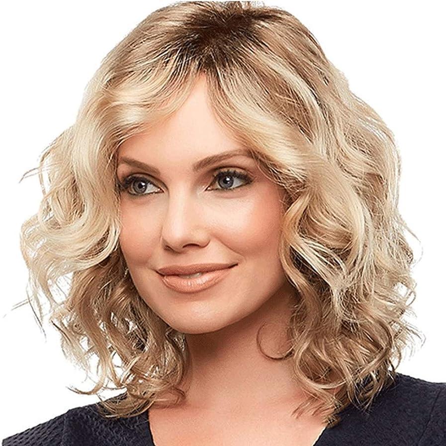 びっくりする卵批判的女性用ウィッグブロンドミディアムレングスウェーブのかかった人工毛ウィッグ (色 : Blond)