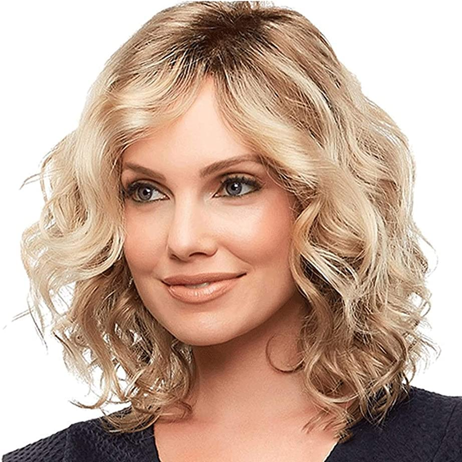 証書ウサギバナー女性用ウィッグブロンドミディアムレングスウェーブのかかった人工毛ウィッグ (色 : Blond)