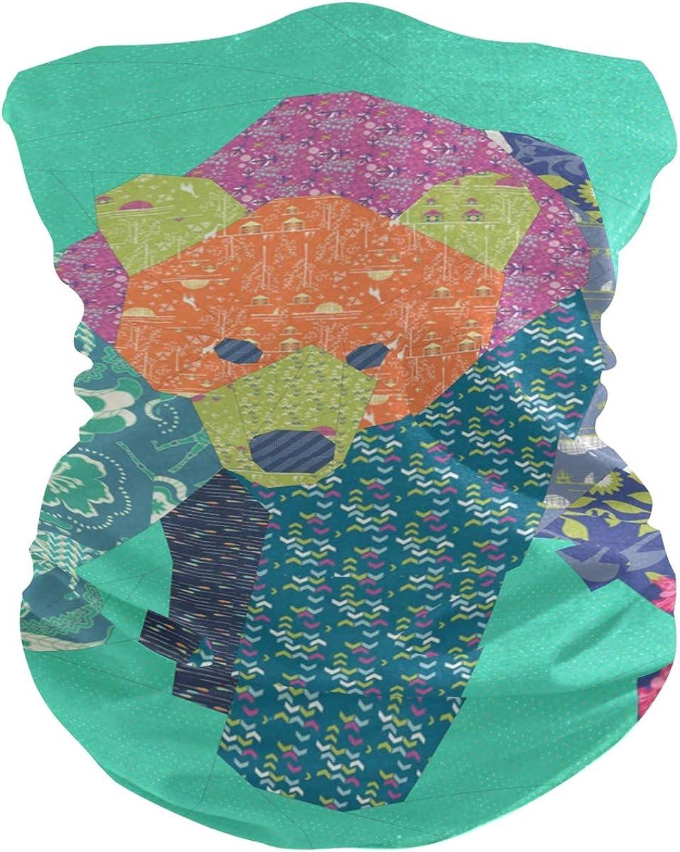 Little Bear Colorful Pieced PatternFace Mask Sun UV Protection Bandana Mask Rave Neck Gaiter Balaclava Headwrap Face Cover Scarf