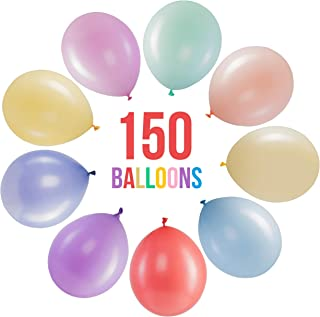 Prextex 150 Pastel Party Balloons 12 Inch 10 Assorted Rainbow Candy Colors - Bulk Pack of Strong Latex Macaron Balloons fo...