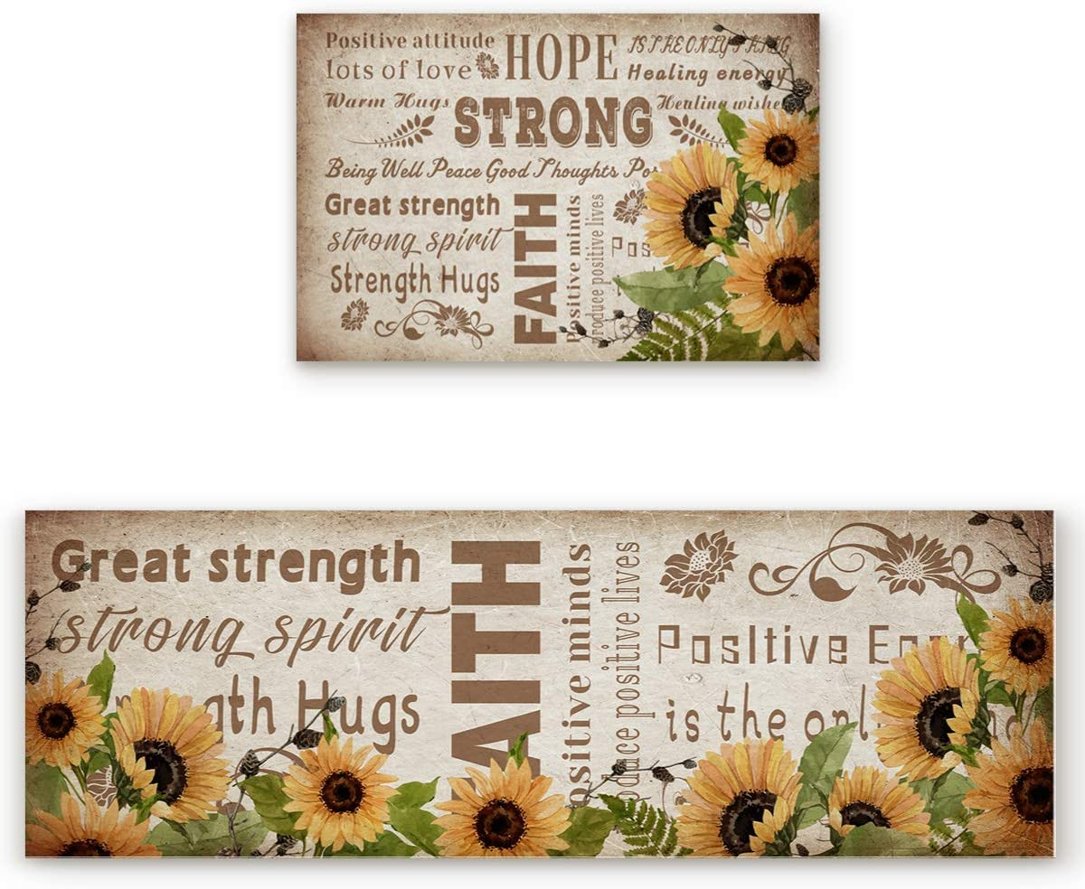 Cloud Dream Home Kitchen Cheap mail order Max 70% OFF shopping Rug 2 Sunflower Inspirational Set Words