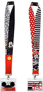 Disney Minnie Mouse & Mickey Mouse Deluxe Lanyard 2 Pack Office Gift Set
