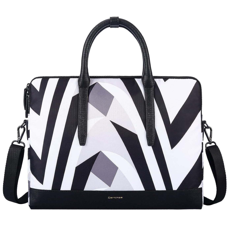 Cartinoe Women 13.3 Inch Laptop Tote Bag Notebook Shoulder Bag Lightweight Multi-Pocket Business Work Office Briefcase for iPad Pro/Computer / MacBook/Ultrabook, Zebra